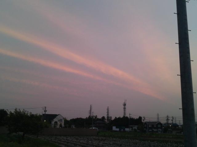 飛行機雲が夕焼けに染まる―