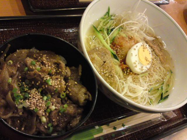 さっぱりカペリーニ冷麺風とミニ牛カルビ丼(食べ歩き/江南市)